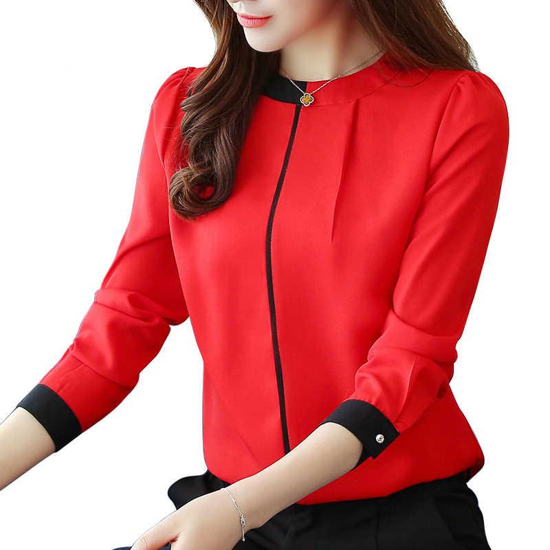 64e57b43ded Шифоновая женская блузка 2018 с длинным рукавом Красная Женская одежда  Офисная Женская блузка женские Топы Женская