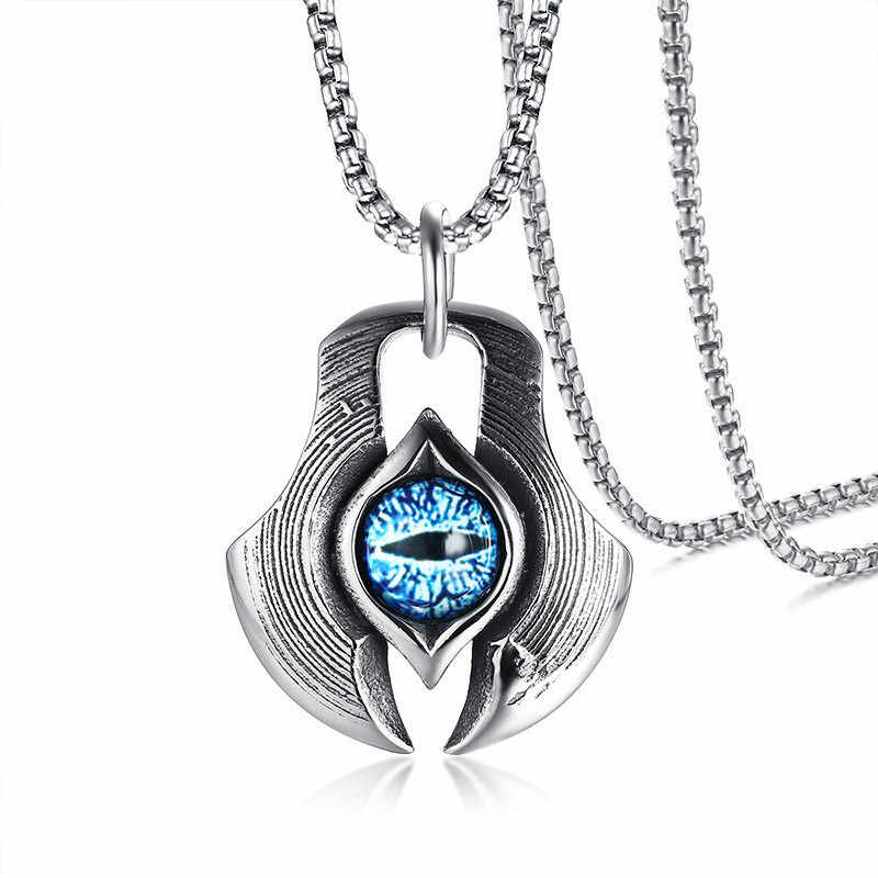 ZORCVENS Man Punk Retro The Eye of Persia Pendant Necklace for Men Women Punk Erkek Kolye Turkish Necklace Jewelry