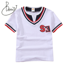 2019 Summer Boys Short Sleeve T Shirts Solid Letter T-shirt Striped Tee Shirt Cotton Boy O-Neck Tops for Kids Clothing 5433