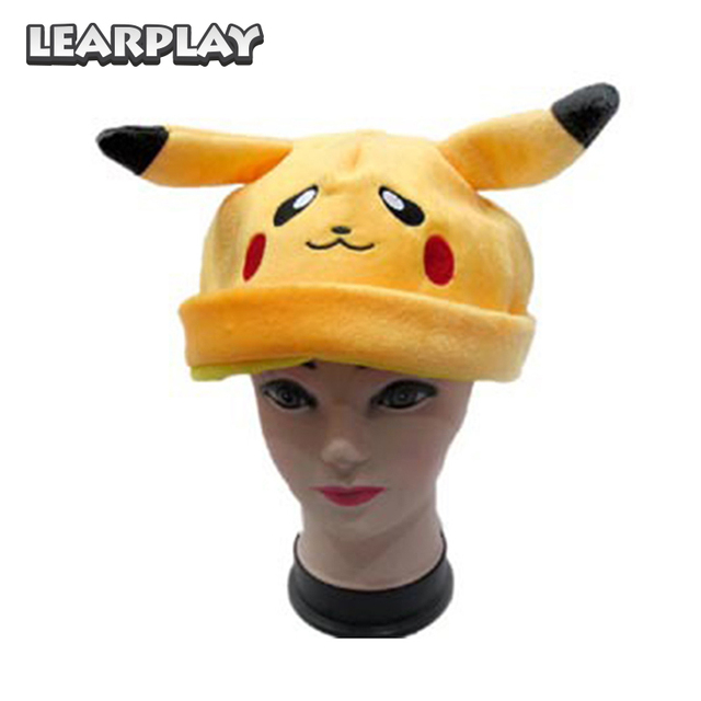 a9d381b0d US $9.56 13% OFF|Anime Pokemon Cosplay Costume Pikachu Cartoon Plush Hat  Cute Autumn Winter Warm Soft Caps For Adults Children Christmas Props-in  Boys ...