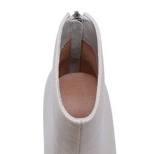 Image 3 - جلد طبيعي حذاء من الجلد النساء حافر كعب الخريف سيدة عالية الكعب الأحذية A263 امرأة الموضة أسود بيج ساحة تو زيبر الأحذية