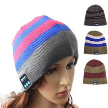 778a9d7709c LumiParty Adult Unisex Hat Wireless Bluetooth Headset for Phone and Music  Warm Striped Knitwear Beanie(