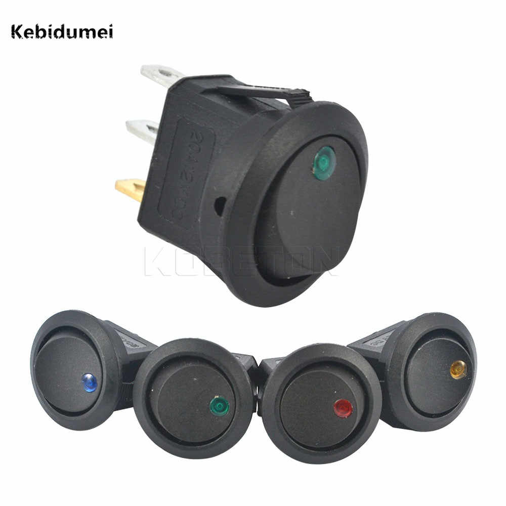 Kebidumei SPST LED illuminated Switch 3 Pins Car Dashboard Dash Boat Toggle ON-OFF Rocker DC 12V Electronic Accessories for Auto