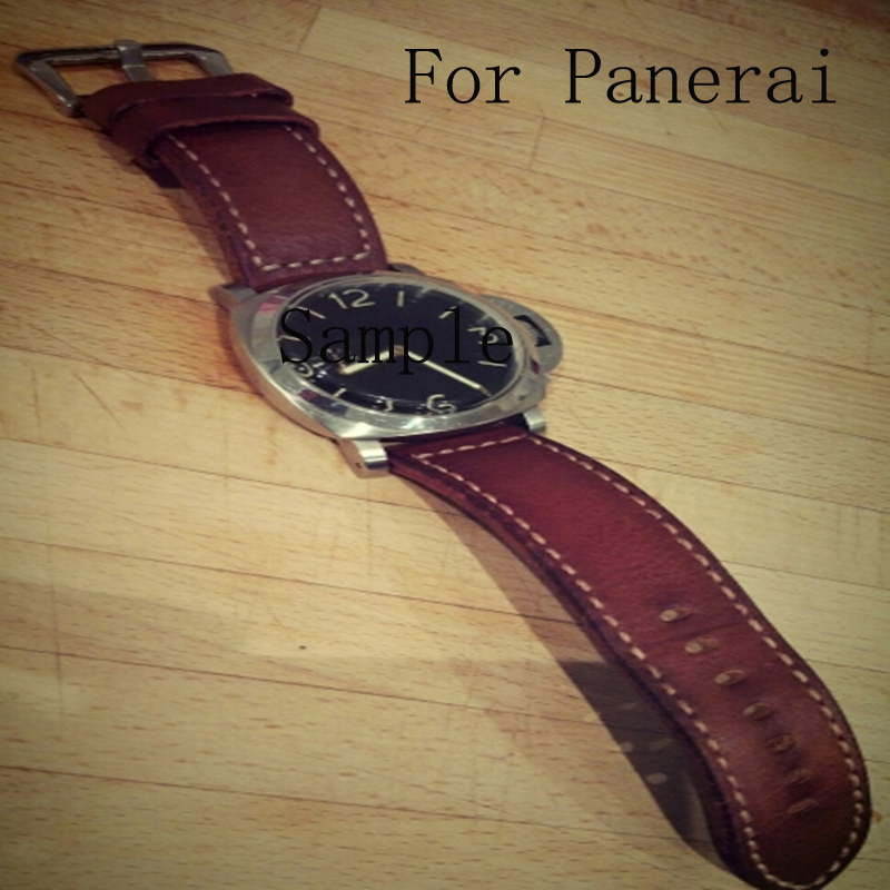 Top Quality 24MM 26MM Handmade Genuine Leather Classic Red Brown Soft Watchbands Bracelet Strap For PAM111/Panerai With Logo planet waves 25ls01 dx classic leather strap with contrast stitch brown