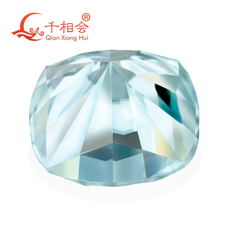 Image 2 - light blue color  cushion shape dia mond cut Sic material  Moissanite loose stone-in Beads from Jewelry & Accessories