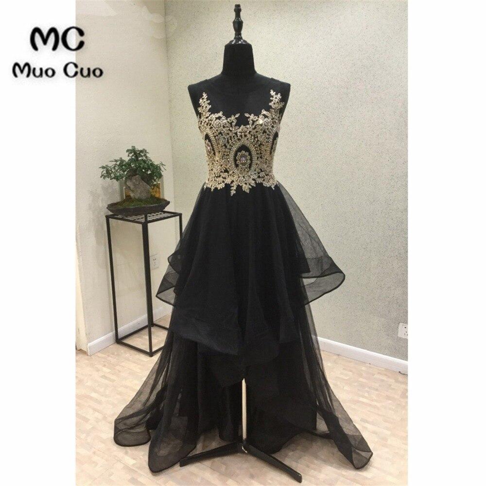 Splendida 2018 Prom Dresses per adolescenti Senza Maniche Appliques Dorate Vestidos de fiesta Vestito Da Sera Convenzionale Nero per le donne