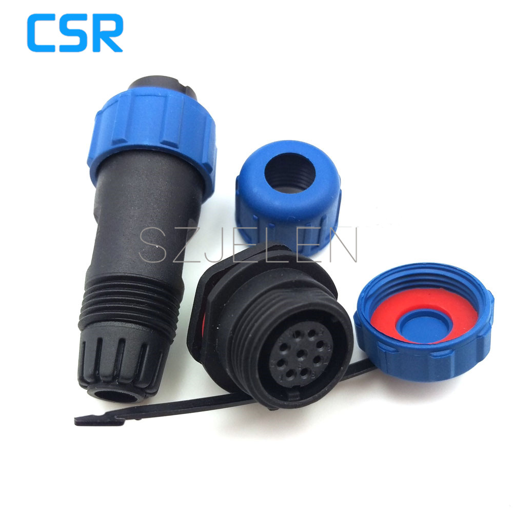 SP13, waterproof 9 pin plug and socket, 9 pin plug(male)and 9 pin socket(female), LED power cable outdoor panel mount connector sp21 no need welding waterproof connector plug socket 2 pin power cable connector panel mount 21mm ip68 led connectors