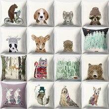 Animal Cartoon Soft Cushion Cover for Kids Decorative Sofa Bed Car Pillow Cases Peach Skin Office Living Room Home Decor 45x45cm цены