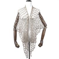 Asymmetric Open Stitch Cardigan Summer Beach Mesh Hippie People Style Crochet Knit Embroidery Blouse sleeveless Vest 2