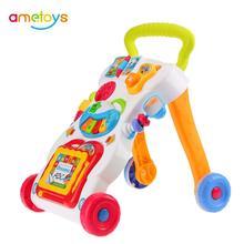 الموسيقى مشاية للأطفال الطفل الخطوة الأولى سيارة طفل عربة الجلوس إلى الوقوف ووكر للأطفال التعلم المبكر التعليمية قابل للتعديل المسمار