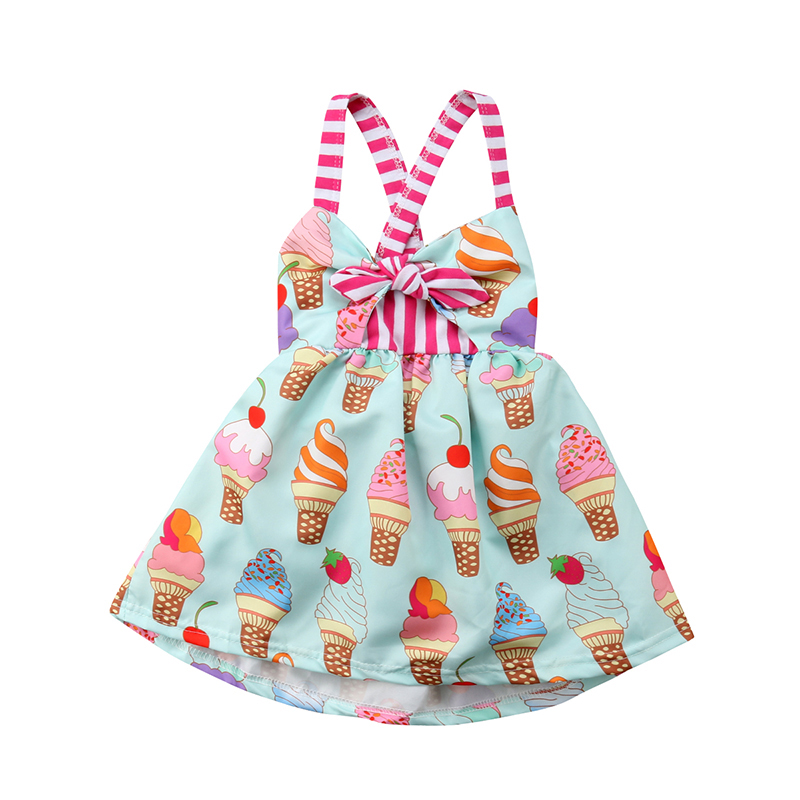 Princess Girls Summer Toddler Kids Sleeveless Ice Cream Print Strap Tutu Party Dress Sundress Clothes chamsgend summer toddler kids baby girls clothes printing sleeveless dress small house vest princess tutu dresses june8 p30