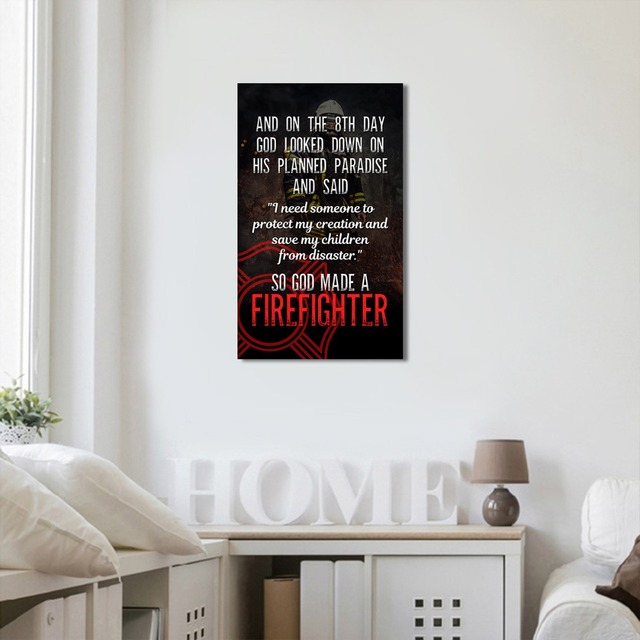 panel wall art firefighter quote print canvas poster art kids room