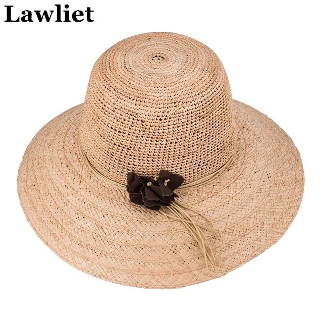 Chapéu femenino Sombrero de Paja Sombreros de Verano para Las Mujeres Niza Sombreros de Ala Ancha Floppy Playa Femenino Sombrero con Flores Diseño A348