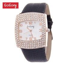 Luxury Gogoey Brand leather watches Women Lady Crystal Dress Quartz Wristwatches Female Clock go070