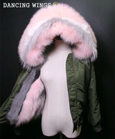 New Fashion Removable Natural Fox Fur Liner Women Hood Jacket Short Style Real Fox Fur Collar Army Green Winter Fur Parka