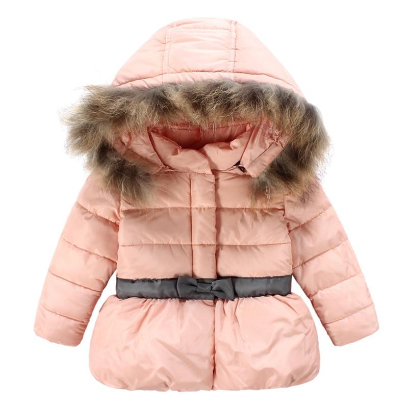ФОТО New girls Winter downcotton coat kids thicken hooded jackets warm bowknot outerwear coat children warm winter jackets