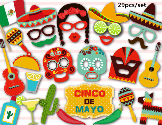 29pcs Mexican Facebook Photo Booth Props Hawaiian Photobooth Props