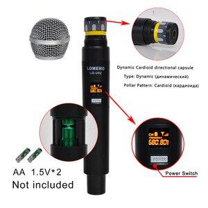 Image 2 - LO U02 UHF ארוך טווח כפול ערוץ 2 כף יד מיקרופון משדר מקצועי קריוקי UHF מיקרופון אלחוטי מערכת