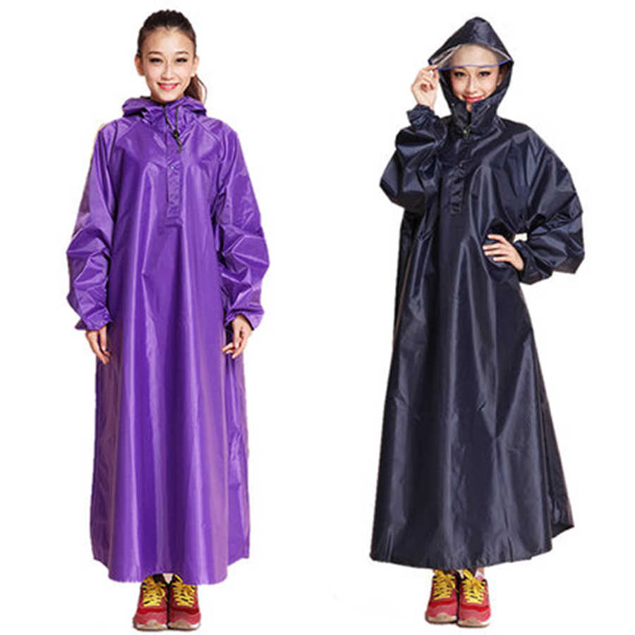 Womens Raincoat Adult Size Long Cover Camping Suit Rain Coat Windbreaker Poncho Cover Gear Capa Chuva Outdoor Rainwear 50KO173