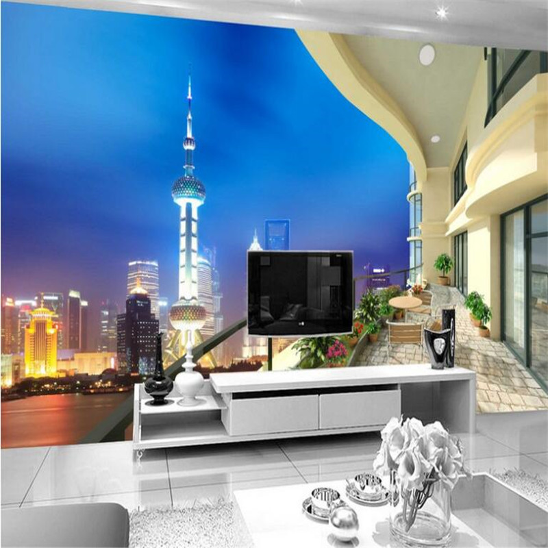 custom 3D modern photo high quality non-woven wallpaper 3D night view balcony TV sofa mural wallpaper for bedding room beibehang lovely abc print kid bedding room wallpapers ecofriendly fantasy non woven wall paper children mural wallpaper roll