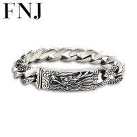 16 мм голова дракона браслет 925 пробы серебро 21 22 см стороны звено цепи браслет S925 одноцветное тайский серебряный дракон браслеты Для мужчин