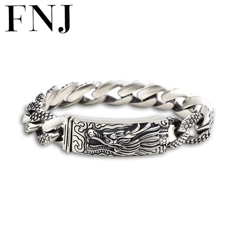 16MM Dragon Head Bracelet 925 Sterling Silver 21-22cm Hand Link Chain Bangle S925 Solid Thai Silver Dragon Bracelets Men Jewelry 925 sterling silver mens dragon bracelets fashion domineering classic hand chain for men special jewelry charm bracelet 268
