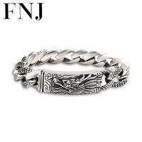 16MM Dragon Head Bracelet 925 Sterling Silver 21 22cm Hand Link Chain Bangle S925 Solid Thai Silver Dragon Bracelets Men Jewelry