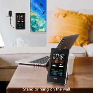 Image 3 - FanJu FJ3389 תחנת מזג דיגיטלי מדחום מדדי לחות חיישן אלחוטי LCD צבע מעורר לוח שנה קיר שולחן שעון שולחן שעון