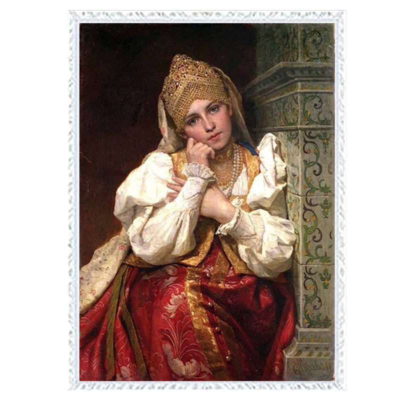 Golden panno,Needlework,Embroidery,DIY portrait Painting,Cross stitch,kits,14ct beautiful woman Cross-stitch,Sets For Embroider