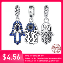 Authentic 925 Sterling Silver Beads Blue Eyes Fatima Hamsa Hand Charm Beads fit Original PAN Charm Bracelet DIY Jewelry(China)