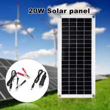 20W 5V Portable Double USB Port Flexible High Efficiency Sunpower Polycrystalline Solar Panel Power Kit