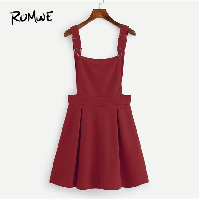 1b06394d4cc ROMWE Pleated Zip Up Back Pinafore Dress Women Preppy Backless Summer Dress  2018 Burgundy Casual A Line Pleated Dress