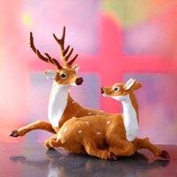 Simulation Deer Large 22x20cm Lovers Couples Reindeer Model Toy Polyethylene Resin Handicraft Props Home Decoration A1805