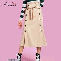 Kinikiss 2017 nowa moda wiosna kobiety lace-up przycisk spódnica khaki lato spódnice jesień połowie łydki zwykły eleganckich kobiet na co dzień spódnicy
