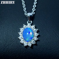 ZHHIRY Natural Opal Necklace Pendant Genuine 925 Sterling Silver For Women With Chain Real Color Gemstone Fine Jewelry