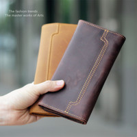 Vintage crazy horse wallet genuine leather wallet handmade cowhide wallet card and neutral