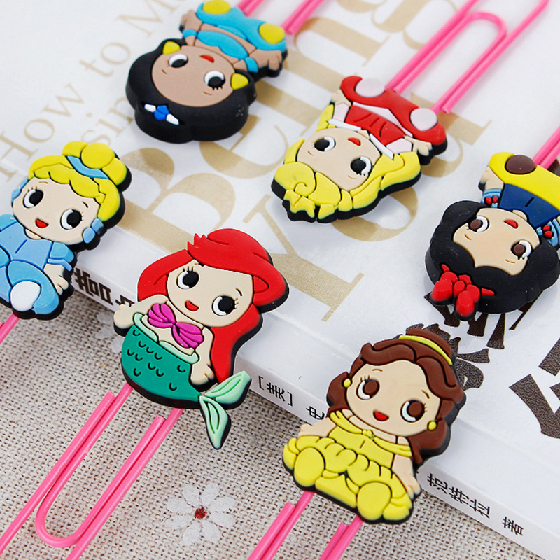 1pcs Cartoon Princess Paper Clip Silicone Material Escolar Bookmarks For Books Stationery School Supplies Papelaria Child Gift