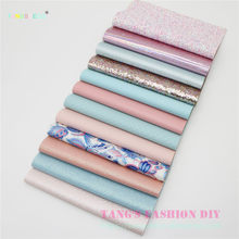 12pcs---20x22cm DIY Hair Bow Material Pink And Blue Color Mix DIY PU synthetic Leather Set