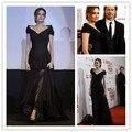 Angelina Jolie vestido de car-styling nueva hot & sexy negro con cuello en v vestido de noche largo 2016 de la piso-longitud roja vestidos de la celebridad de la alfombra