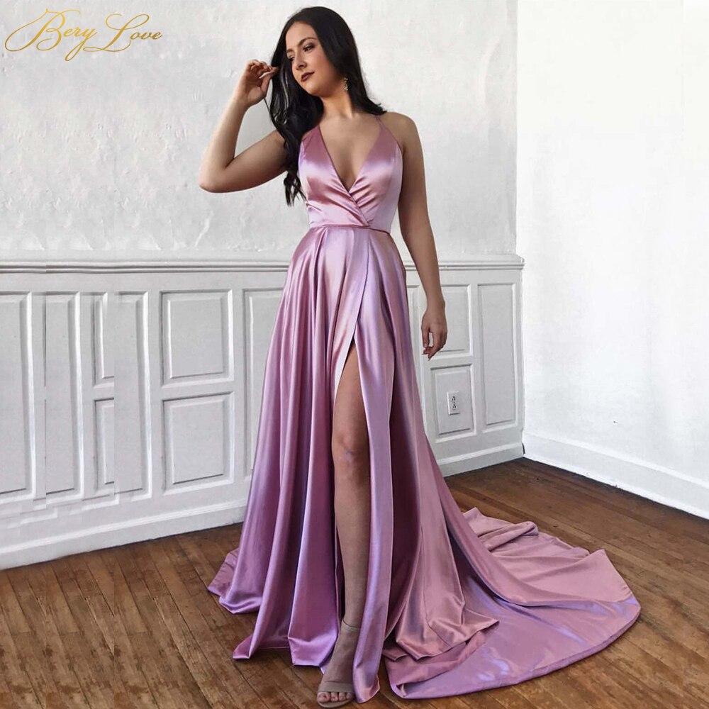 BeryLove Pink Simple   Evening     Dress   2019 Halter Crisscross Bust High Slit V neck   Evening   Gown Long Prom Pockets Robe De Soire