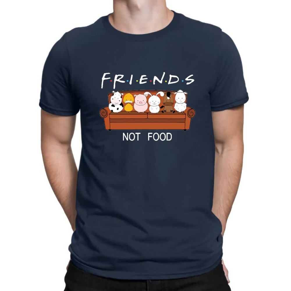 Image 3 - New Animal Friends Not Food Funny Parody T Shirt Vegan Vegetarian No Meat Men Fashion Short Sleeve O Neck Cotton Print T Shirt-in T-Shirts from Men's Clothing