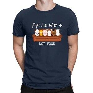 Image 3 - New Animal Friends Not Food Funny Parody T Shirt Vegan Vegetarian No Meat Men Fashion Short Sleeve O Neck Cotton Print T Shirt