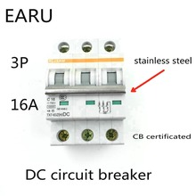 3P 16A DC 750V DC Circuit Breaker MCB for PV Solar Energy Photovoltaic System Battery C curve CB Certificated Din Rail Mounted