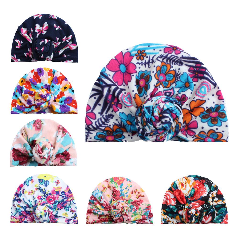 1pc New Baby Girls Boho Hat Soft Head Wrap Rose Flower Knot Cotton Cap Beanie 7 colors U-pick