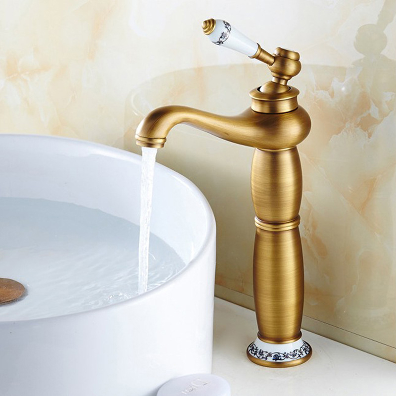 Basin Faucet bathroom Sink Tall Mixer Tap Single Handle Antique Hot and Cold Vanity Single Hole Mixer Water Taps Bathroom Basin chrome brass bathroom basin faucet counter top cold and hot water mixer tap sink single handle hole bath room taps