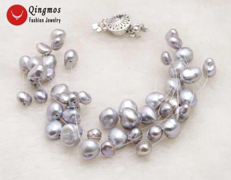 Qingmos Gray Natural Pearl 7.5