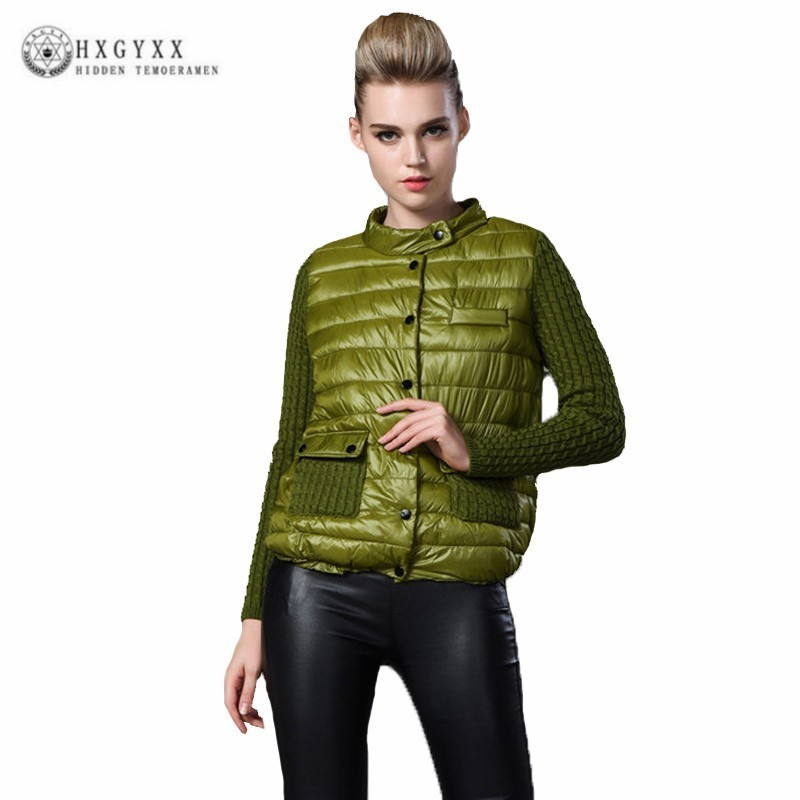 7XL Européenne 2018 Hiver Manteau Femmes Tops Plus La Taille Vers Le Bas Coton Vêtements Femme Knit Patchwork Coton Veste Manteau Occasionnel J065