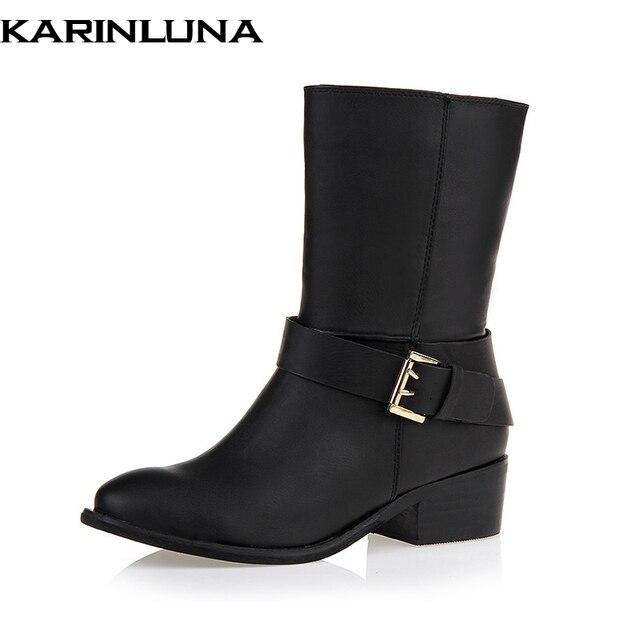 b219c59df KARINLUNA Melhor Qualidade Na Moda Estilo Sapatos Botas de Montaria Mulheres  mid-calf Botas de