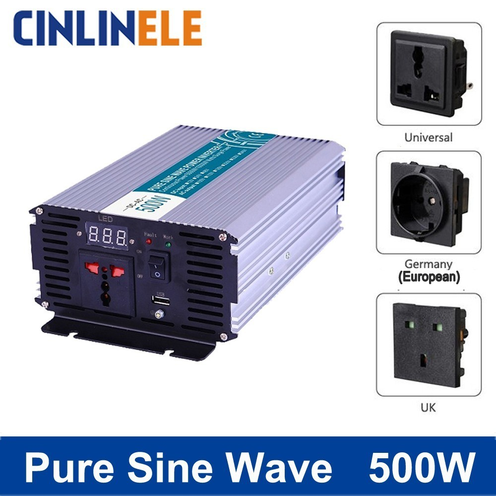 цена на Smart Pure Sine Wave Inverter 500W CLP500A DC 12V 24V 48V to AC 110V 220V Smart Series Solar Power 500W Surge Power 1000W