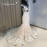 Leeymon Custom Made Vestido de Noite 2018 Sexy Sereia com Apliques Prom Vestidos de Festa do Assoalho-comprimento Plus Size